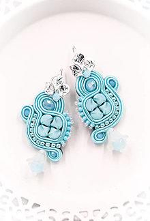 Náušnice - Šujtášové modré náušnice /soutache earrings - 13202438_