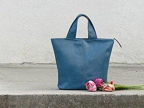 "Kabelky - SARA ""Simple"" modrozelená kožená kabelka - 13201570_"