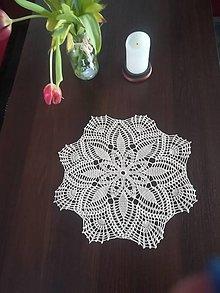 Úžitkový textil - Béžová háčkovaná dečka v tvare kvetu - 13204801_