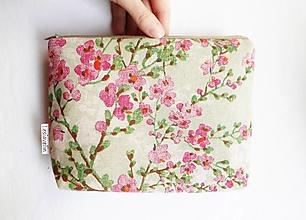 Taštičky - Taštička objemná väčšia - Ružové kvety - 13204760_