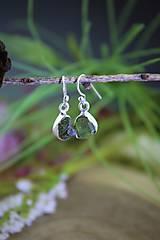 Náušnice - olivín náušnice - drúzy v striebre - 13206137_