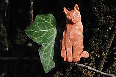 Brošne - Sediaca mačka ryšavá - 13206177_