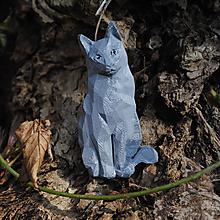 Brošne - Sediaca mačka strieborná - 13205652_