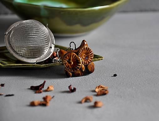 sitko na čaj sova rôzne farby  (zeleno-hnedá)