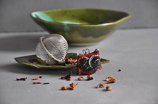 sitko na čaj sova rôzne farby  (Červeno- zelená)