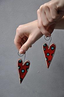 Dekorácie - srdiečko červené s bodkami - 13205396_
