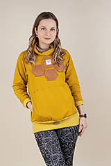Mikiny - Dámska mikina s rolákom -Honey /Women's sweatshirt with turtleneck -Honey - 13205028_