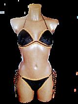 Plavky - Zamatové plavky -čierno-zlaté - 13203532_