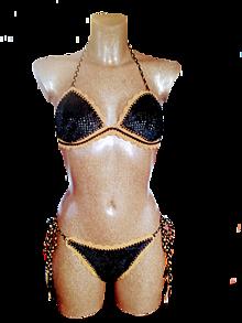 Bielizeň/Plavky - Zamatové plavky -čierno-zlaté - 13203532_