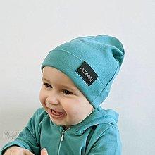 Detské čiapky - Detská čiapka organic - light petrol - 13208726_