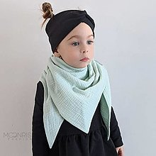 Detské doplnky - Mušelínový šálik - mint - 13209519_