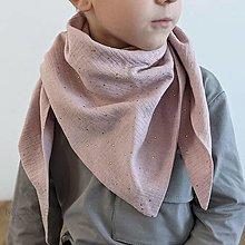 Detské doplnky - Mušelínový šálik - pink/gold dotties - 13209556_