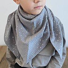 Detské doplnky - Mušelínový šálik - grey/silver stars - 13209561_
