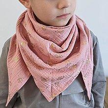 Detské doplnky - Mušelínový šálik - pink dandelion - 13209565_