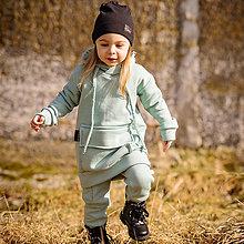 Detské oblečenie - Detská oversize mikina - pocket - mint zateplená - 13209957_