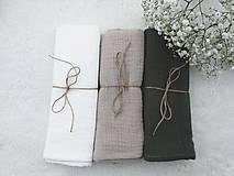 "Textil - Mušelínka ""KHAKI"" 60x50cm - set 3ks (mušelínová plienka) - 13209351_"