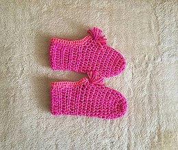 Obuv - Ručne háčkované papuče CYKLAMÉNOVÉ POHLADENIE - 13207809_