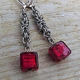 Náušnice - Chainmaille náušnice s korálkou - 13213303_