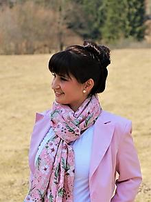 Šály - Ľanový šál vintage rose - 13214029_