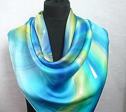 Šatky - Mořský květ. Luxusní hedvábný šátek. - 13212154_