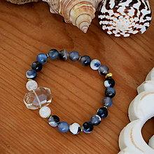 Náramky - Náramok Horský Krištáľ a krajkový Achát Blue - 13211410_