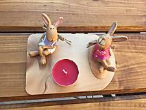 Dekorácie - na drevenom lopáriku zajko + zajkuľka  2 - 13213593_