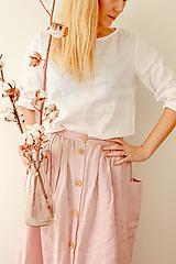 Sukne - Ľanová sukňa s veľkými vreckami (prašná ružová) - 13212886_