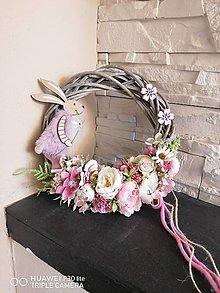 Dekorácie - Jarný veniec so zajacom 27cm - 13211136_