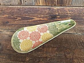Nádoby - Odkladač na varešku Kvety zelená - 13214917_