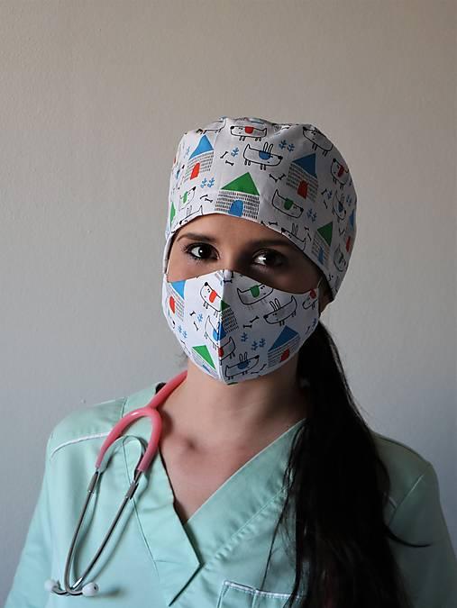 Dizajnová operačná / chirurgická čiapka psík zelený