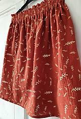 """Sukne - Dámska sukňa """"GINGER"""" - tehlová farba so zlatou rastlinnou potlačou - 13215559_"""