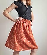 """Sukne - Dámska sukňa """"GINGER"""" - tehlová farba so zlatou rastlinnou potlačou - 13215568_"""