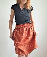 """Sukne - Dámska sukňa """"GINGER"""" - tehlová farba so zlatou rastlinnou potlačou - 13215570_"""