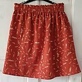 """Sukne - Dámska sukňa """"GINGER"""" - tehlová farba so zlatou rastlinnou potlačou - 13215780_"""