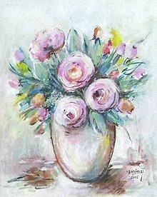 Obrazy - Ruže vo váze - 13217143_