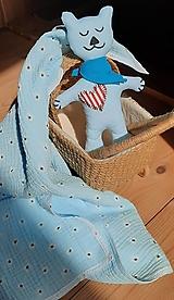 Úžitkový textil - Súprava pre bábätko_mušelínová šatka/ deka a macko Spinkáčik - 13215954_