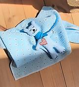 Úžitkový textil - Súprava pre bábätko_mušelínová šatka/ deka a macko Spinkáčik - 13215955_