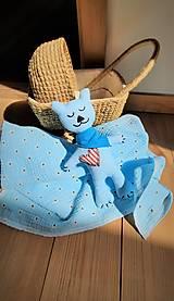 Úžitkový textil - Súprava pre bábätko_mušelínová šatka/ deka a macko Spinkáčik - 13215956_