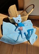 Úžitkový textil - Súprava pre bábätko_mušelínová šatka/ deka a macko Spinkáčik - 13215958_