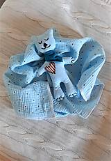 Úžitkový textil - Súprava pre bábätko_mušelínová šatka/ deka a macko Spinkáčik - 13215960_