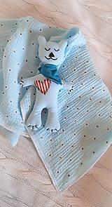 Úžitkový textil - Súprava pre bábätko_mušelínová šatka/ deka a macko Spinkáčik - 13215962_