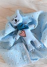 Úžitkový textil - Súprava pre bábätko_mušelínová šatka/ deka a macko Spinkáčik - 13215963_