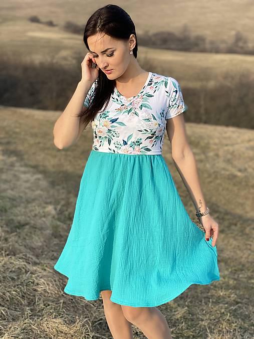 Šaty - Mušelínové šaty na dojčenie - tyrkys flower - 13215923_