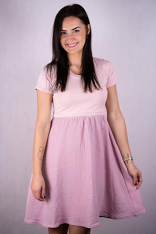 Šaty - Mušelínové šaty na dojčenie - pink basic - 13216031_