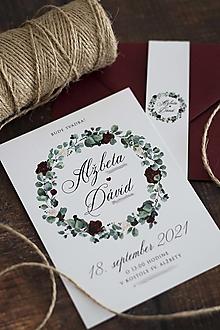 Papiernictvo - Svadobné oznámenie - Venček bordovo-krémové kvety ❤ - 13216822_