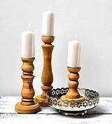 Svietidlá a sviečky - Drevené svietniky-hnedá sada - 13216436_