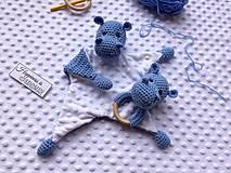 Hračky - Mojkáčik + hrkálka hrošík - modrá - 13222081_