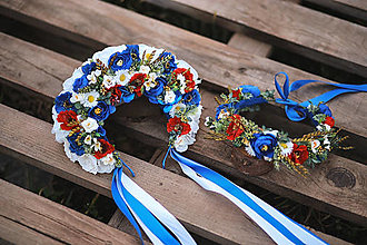 Ozdoby do vlasov - Folklórna svadobná kvetinová parta v modrom - 13221121_