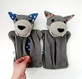 Hračky - Maňuška vlk zubatý, hladný, s bruškom na zips - na objednávku - 13219072_