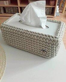 Krabičky - Háčkovaný obal na vreckovky biela, béžová - 13219861_